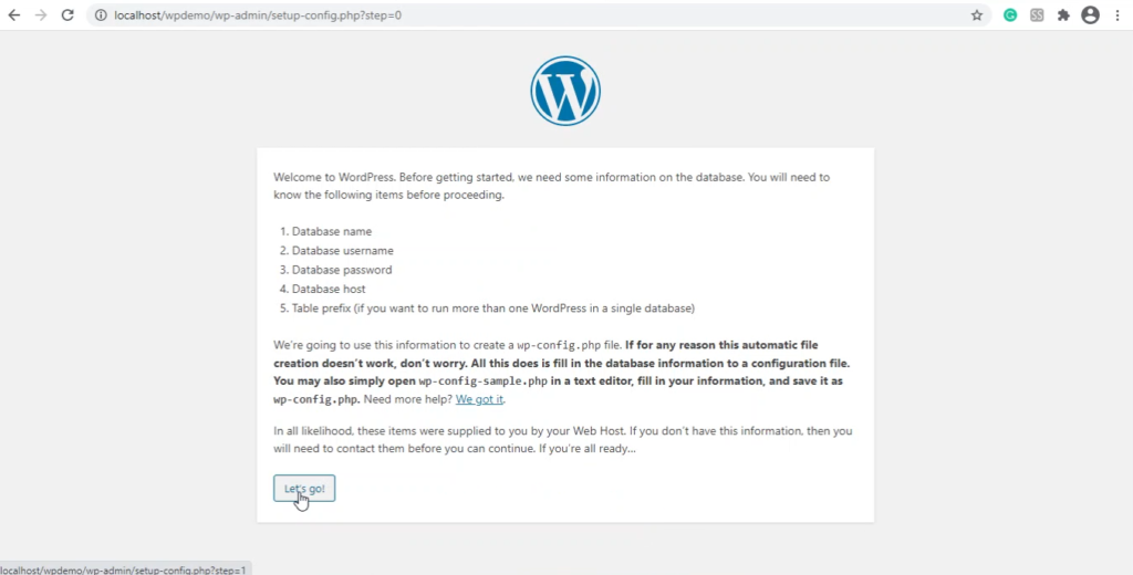 Prompt message to setup database during wordpress installation