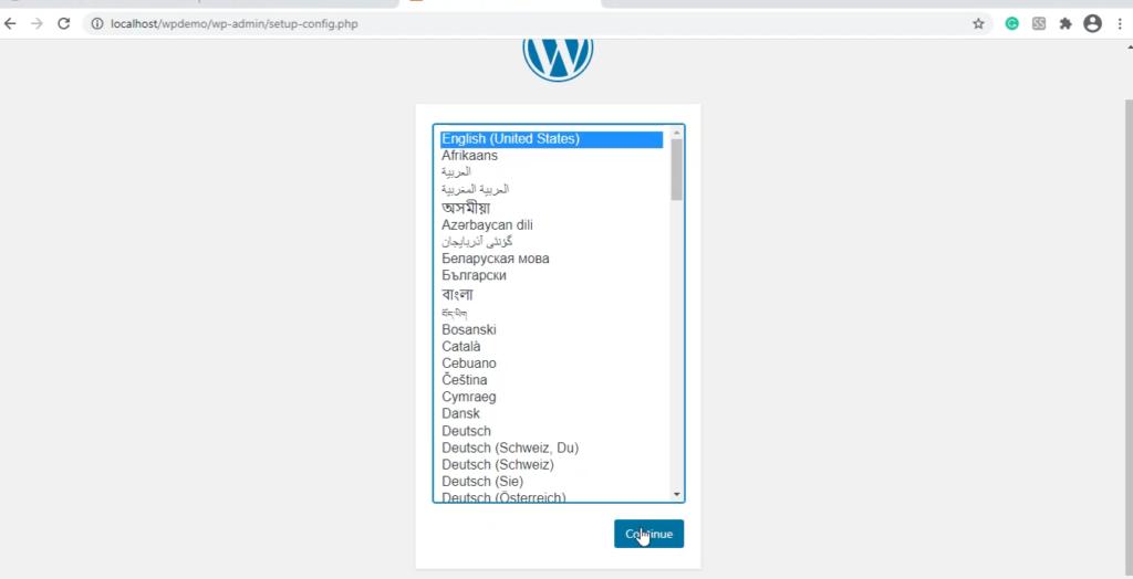 set the language of wordpress site